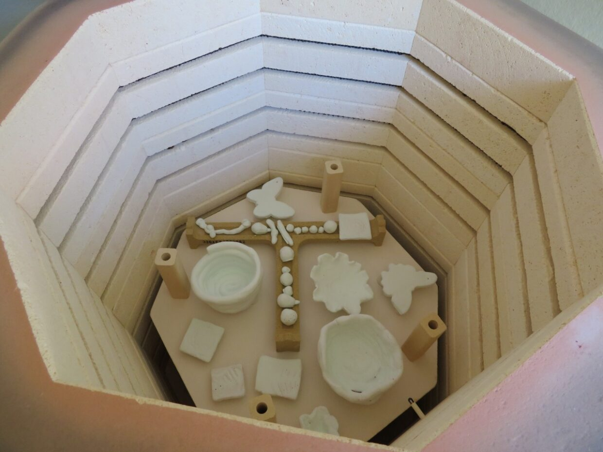 The inside of our kiln, part loaded