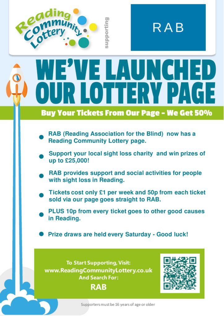 Poster advertising Reading Community Lottery