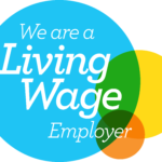 Living Wage Employer logo: intersecting Blue, yellow, and organge circles with 'We are a Living Wage Employer' text